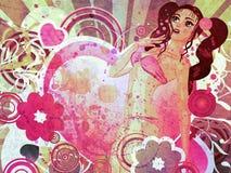 Девушка Grunge в розовом бикини и большом сердце иллюстрация вектора