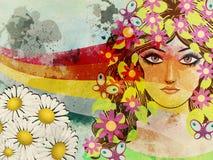 Девушка Grunge с бабочками иллюстрация вектора