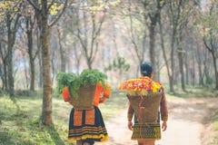 Девушка Hmong с платьем tradiyional с корзиной Стоковая Фотография