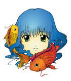 Девушка Koi иллюстрация вектора