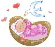 девушка newborn иллюстрация вектора