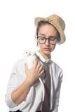 Девушка Oung в строгих стеклах с белой крысой 4 стоковое изображение rf