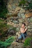 Девушка outdoors в платье 3 лета Стоковое фото RF