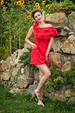 Девушка outdoors в платье 6 лета Стоковая Фотография RF
