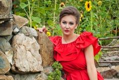 Девушка outdoors в платье 7 лета Стоковая Фотография RF