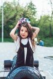 Девушка Preschool сидя na górze карамболя Стоковые Фотографии RF