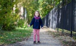 Девушка Preschooler в парке осени с кленовыми листами Стоковое Изображение RF