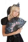 Девушка princess подростка в черном платье бархата Стоковое фото RF