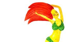 Девушка redhead акварели счастливая с закрытыми глазами в купальном костюме с космосом экземпляра иллюстрация вектора