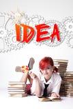 Девушка Redhead с леденцом на палочке посетила идею иллюстрация вектора