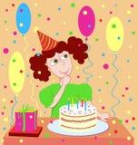девушка s дня рождения иллюстрация штока