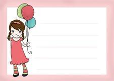 девушка s поздравительой открытки ко дню рождения Стоковые Изображения