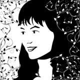 девушка s стороны иллюстрация вектора