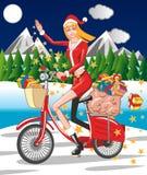 девушка santa велосипеда Стоковые Изображения