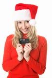 девушка santa подарка рождества карточки Стоковое Изображение RF
