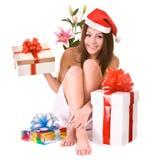 девушка santa подарка цветка claus рождества коробки Стоковое Фото
