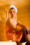 Девушка Sauna Стоковые Фотографии RF