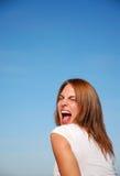 девушка screaming yeah стоковые изображения rf