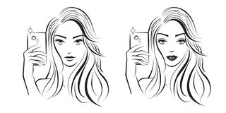 Девушка Selfie Чистая линия искусство Искусство фантазии r Эскиз и проект стоковое изображение