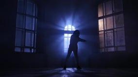 Девушка sensually выполняет танец, движения грациозно Силуэт, замедленное движение акции видеоматериалы