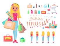Девушка Shopaholic при установленные хозяйственные сумки и тележки иллюстрация штока