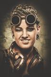 Девушка Steampunk с гуглит Стоковые Фотографии RF