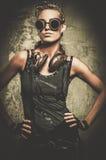 Девушка Steampunk с наушниками Стоковые Изображения RF