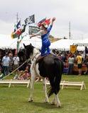 Девушка Vaulter на лошади Стоковые Фото