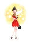 Девушка Watercolour с кофе Стоковое Изображение