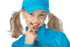 девушка yong голубой крышки стоковые фотографии rf
