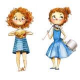 Девушки акварели Стоковые Изображения
