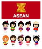 Девушки АСЕАН с флагом - AEC иллюстрация штока