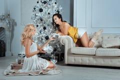 Девушки дают подарки друг к другу под рождественской елкой Стоковая Фотография