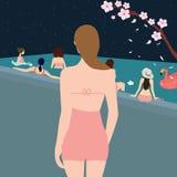 Девушки бассейна женской женщины задние смотря Стоковое фото RF