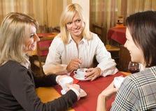Девушки беседуя на чае Стоковое Изображение