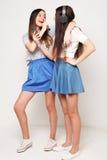 Девушки битника красоты с микрофоном поя и фотографируют Стоковые Фото