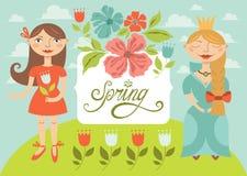 Девушки весны с цветками. Поздравительная открытка Бесплатная Иллюстрация