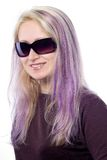 девушки волос фиолет довольно Стоковое Изображение RF