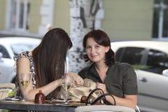 Девушки встречали на обеде Стоковое Фото