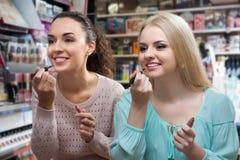 2 девушки выбирают лоск губы Стоковая Фотография RF