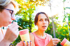 Девушки выпивая кофе в парке Стоковое Изображение RF