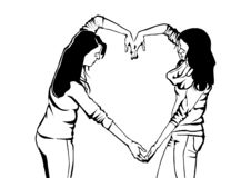Девушки выражают их чувства с символом иллюстрация вектора