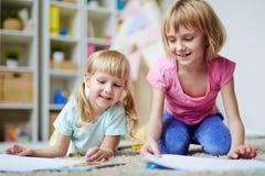 Девушки в детском саде Стоковые Фото