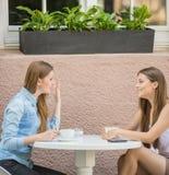 Девушки в кафе лета Стоковое Фото