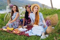 Девушки в красивых платьях наслаждаясь пикником Стоковые Фотографии RF