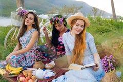 Девушки в красивых платьях наслаждаясь пикником Стоковые Изображения