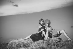 Девушки в красочных волосах парика с хозяйственной сумкой на сене Стоковое Изображение RF