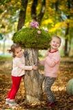 Девушки в парке осени Стоковое Изображение
