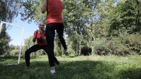 2 девушки в парке приниманнсяое за taibo 2 красивых девушки делают тренировки утра в парке