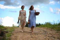 2 девушки в платьях в поле лета Стоковые Изображения
